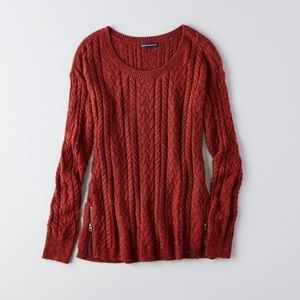 Red American Eagle Cable Knit Sweater